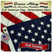 美国国旗 & # x2605; 美国制造美国国旗 & # x2605; - 优质美国国旗刺绣星星和缝制条纹–免费送货适用于 PRIME 成员和亚马逊 A 到 Z *。 美国国旗0.9x 1.5m Grace alley . THIS 美国国旗 meets 美国国旗代码 蓝色 3 by 5 Foot