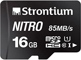 strontium Nitro 256GB Micro SDXC 内存卡100MB/S A1uhs-i U CLASS 10W/适配器高速适用于智能手机平板电脑 drones 可动 CAMS (srn256gtfu3a1a) 黑色 16GB