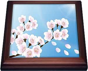 "ANNE marie baugh–花–ONE 特写 OF A sprig OF 樱花–trivets 棕色 8"" x 8"""