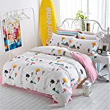 素风家纺 简约全棉四件套床上用品 斜纹纯棉双人被套床单4件套1.5m1.8米 【LH081】开心部落 1.5/1.8m通用 被套200*230cm