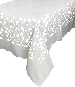 Xia Home Fashions Tulip Bouquet Embroidered Cutwork Spring Tablecloth, 70 by 144-Inch, White