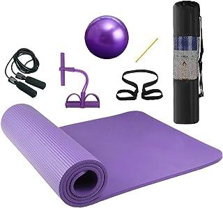 Lixada 瑜伽垫 7 件套 – 包括跳绳、脚踝拉拔器、带管的普拉提球、带背带的瑜伽垫和用于瑜伽、普拉提和健身的储物袋