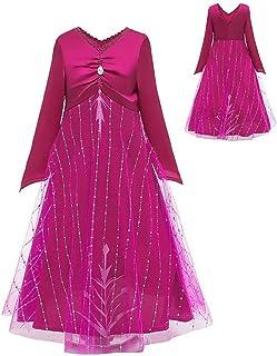女孩雪女王 2 服装玫瑰红 - 紫色睡衣套装儿童冰公主裙角色扮演派对服装