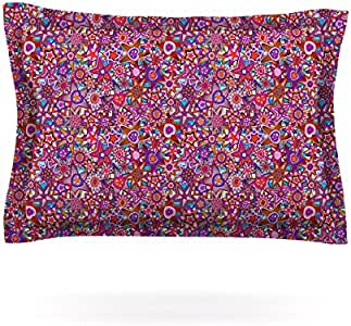 "Kess InHouse Julia Grifol""My Dreams in Color"" Cotton Pillow Sham, 30 by 20-Inch, Pink Stars"