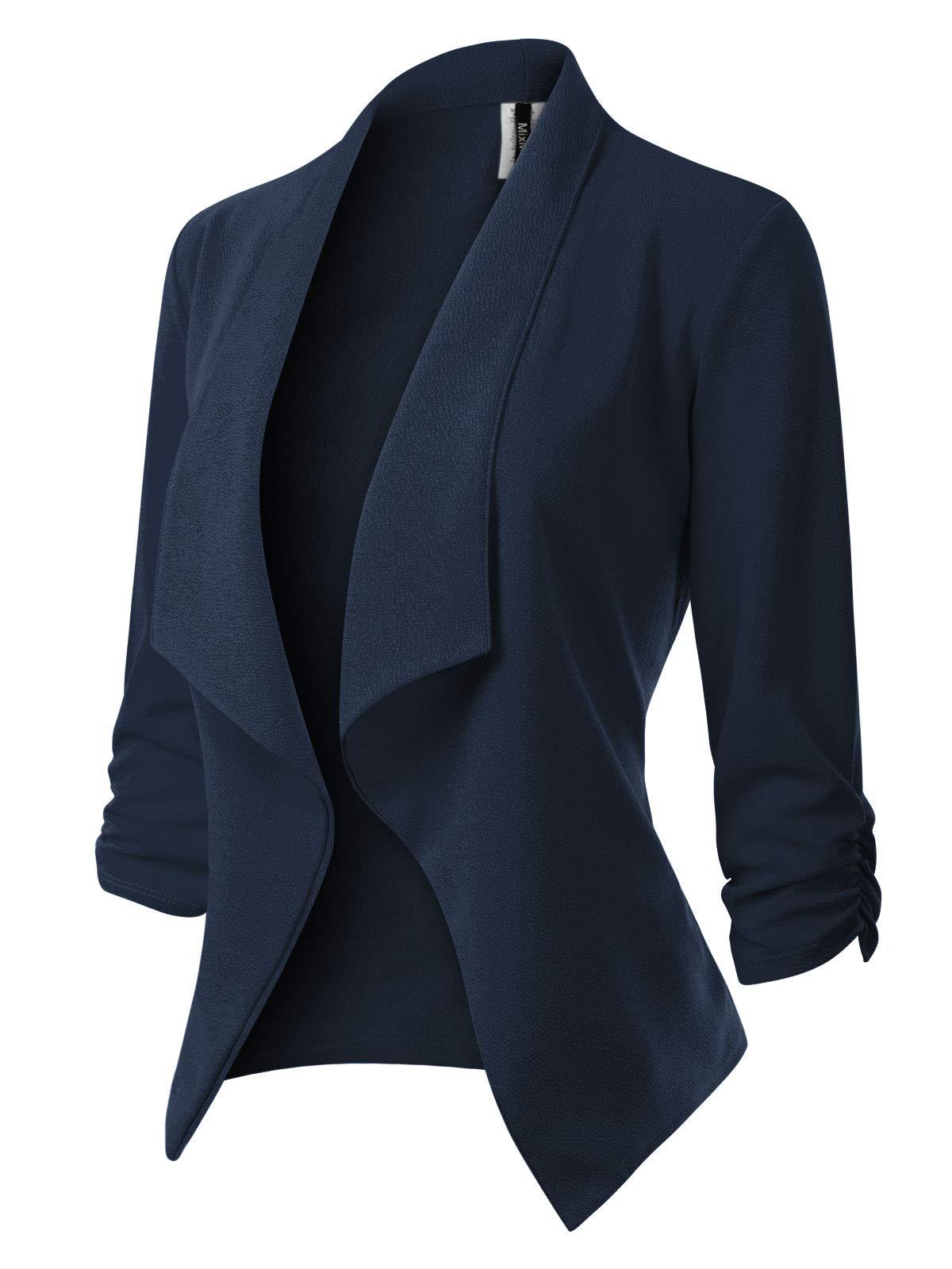 MixMatchy女性[USA]固体正式オープン長袖のスタイルのスーツ(S-3X)前