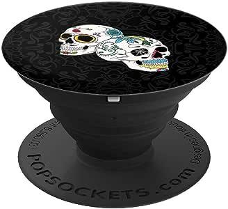 万圣节 Dia De Los Muertos 服装死亡之日骷髅 PopSockets 手机和平板电脑握架260027  黑色