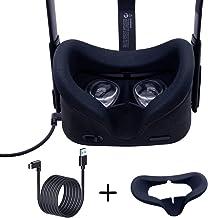 dethinon Oculus Link 电缆 10 英尺(约 3 米),Oculus Quest Link 电缆和 VR 面部硅胶盖面罩,适用于 Oculus Quest Face 靠垫套防汗轻质 2 合 1
