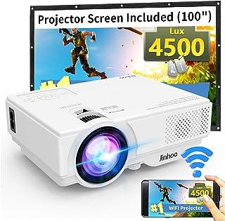 "WiFi 迷你投影仪,Jinhoo 2020 *新更新 4200 Lux [100"" 投影屏幕] 支持 1080P 家庭影院,带 176'' 投影尺寸支持电视棒、HDMI、USB、SD、VGA"