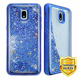 TJS Galaxy J3 2018/J3 V 2018/J337/Express Prime 3/J3 Star/J3 Orbit/J3 Achieve/J3 Prime 2/Amp Prime 3/Sol 3 手机壳,带[全覆盖钢化玻璃屏幕保护膜]镀铬闪光运动手机壳 蓝色