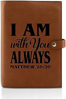 Kate Posh- 雕刻牛皮圣经表层,书籍和规划者封面,基督教和天主教礼品,宗教礼物,My First Holy Bible- A11492890 Matthew 28:20 Rawhide