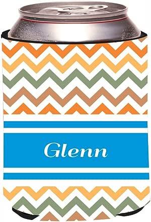 """Rikki Knight""""Glenn"""" Blue Chevron Name Design Beer Can/Soda Drinks Cooler Koozie"""