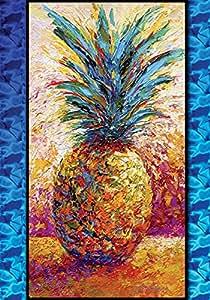 Toland Home Garden Poppin' Pineapple 12.5 x 18 Inch Decorative Colorful Tropical Artistic Fruit Garden Flag