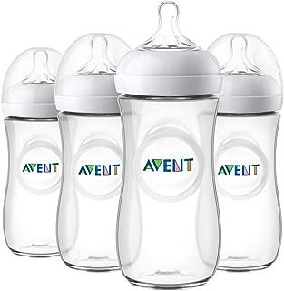 Philips Avent 天然嬰兒奶瓶,透明色,11 盎司/330ml,4 只裝,SCF016/47
