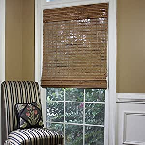 Radiance Havana Indoor/Outdoor Woven Wood Bamboo Roman Shade with 6 in. Valance Pecan 35 in. W x 72 in. L