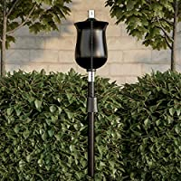 Pure Garden 50-218户外手电筒灯 - 114.3 厘米黑色金属燃油罐火焰灯,适用于香茅和玻璃纤维灯芯,可调节后院/庭院高度