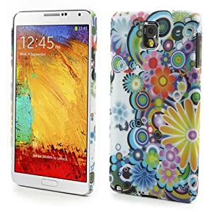 JUJEO Colorful Flowers Hard Plastic Cover for Samsung Galaxy Note 3 N9005 N9002 N9000 - Non-Retail Packaging - Multi Color