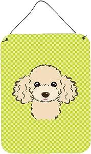 "Caroline's Treasures Checkerboard Lime Green Buff Poodle Wall or Door Hanging Prints, 16"" x 12"""