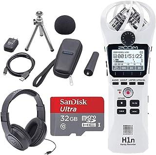Zoom H1n 2 输入 / 2 轨便携式便携式录音机,带板载 X / Y 麦克风 + 变焦 APH-1n 配件包 + 32GB microSDHC UHS-I 卡带适配器 + 立体声耳机 - 完整套装(白色)