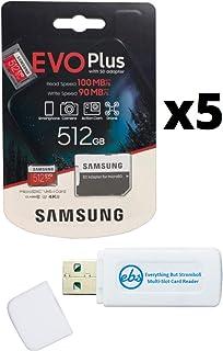 Samsung 三星 512GB Evo Plus 微型 SD卡(5 包 EVO + 套装)Class 10 SDXC 内存卡带适配器(MB-MC512G)带(1)Everything But Stromboli Micro & SD 读卡器