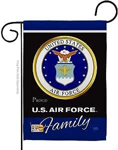 "HG108414 Air Foece Proudly Family 美式军事退伍军人退休装饰官方*美国房屋 71.12cm X 101.60cm 花园 33.02cm 18.5cm 双面旗帜系列 Garden Flag 13"" x 18.5"" Only BD-MI-G-108414-IP-BO-D-US19-AF"