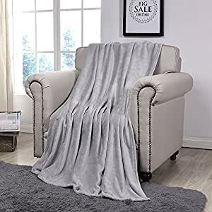 Simple&Opulence 多色法兰绒羊毛家居家具抱毯 127 cm × 152.4 cm 灰色 Solid Design