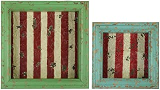 Urban Trends Wood Shadow Box with Striped, Red Backing, Distressed Red and Yellow, Set of 2