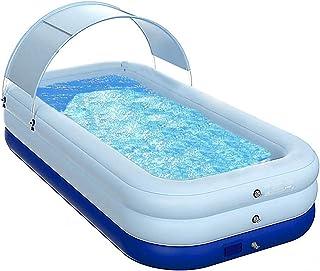 Lovinouse 102 x 63 x 27 英寸(约 102 x 63 x 27 英寸(约 102 x 160 x 68.6 厘米)家庭充气泳池带遮阳罩,单按钮充气游泳中心,适用于儿童、成人、夏季花园露台后院水上游戏派对