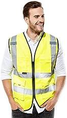 3M反光背心 多口袋 反光衣 反光马甲 建筑施工高亮反光服10907 2XL/3XL(亚马逊自营商品, 由供应商配送)