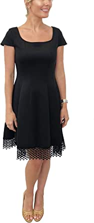 Donna Ricco 方领钩针下摆连衣裙,黑色,4