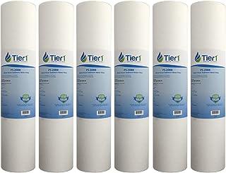 Tier1 DGD-5005-20 5 微米 20 x 4.5 Spun *聚丙烯沉淀物 水溶 SDC-45-2005 可比替换滤水器 6 件装 白色 6-Size P5_20BB