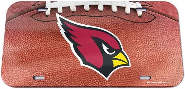 WinCraft NFL 亚利桑那红雀队水晶镜面足球车牌,球队颜色,均码