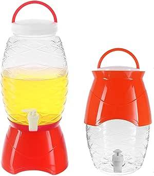 塑料饮料分配器带支架,不易破损派对冷饮水服务器罐,防漏龙头,不含 BPA,1.18 加仑(4.5 升) 红色