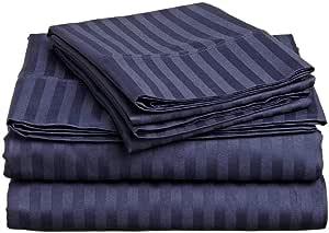 "True linen 床单 4 件套 * 埃及棉 600 纱支*(38.1 厘米) *蓝条纹 Queen(60""x80"") TRUE-LN-SS-439"