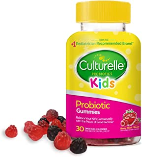 Culturelle Kids Daily Probiotic Gummies | Prebiotic + Probiotic | from The #1 Pediatrician Recommended Brand | Works Naturally to Help Maintain a Healthy Tummy |Gluten Free | Berry Flavor | 30 CT
