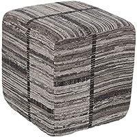 Artistic Weavers Marceline Pouf, 24 x 24 x 12 英寸(约 61 x 61 x 30.5 厘米), 灰色/黑色