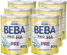 Nestlé BEBA 德国雀巢贝巴 PRO HA Pre段婴儿奶粉 800g, 适合0-6个月婴儿 6罐(6x800克)