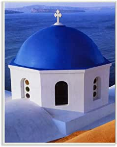 Stupell Industries 希腊教堂屋顶蓝色海洋照片,David Stern Art 设计,10 x 15,壁饰板