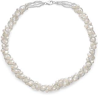 Sugoi 珍珠白淡水养殖编织珍珠项链,纯银扣