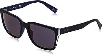 Skechers 斯凯奇中性款成人 SE6020 太阳镜(哑光黑/蓝镜),55