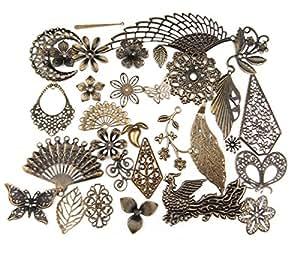 多合一混合复古青铜合金吊坠串珠吊坠链接头 珠宝配饰: 动物、树木、花朵、星星、爱心、皇冠、钥匙、锁、十字架、天使、翅膀 Antique Bronze Filigree Charm 50 43216-122725