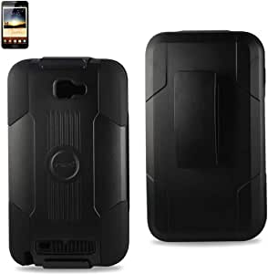 Reiko RKSLCPC09-SAMI9220BK Silicone Case with Hard Cover Holster Combo for Samsung Galaxy Note - 1 Pack - Retail Packaging - Black