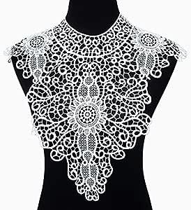 misaya 白色黑色刺绣蕾丝花边贴花蕾丝领 venise 领口婚纱蕾丝补丁缝制适用于手工 DIY