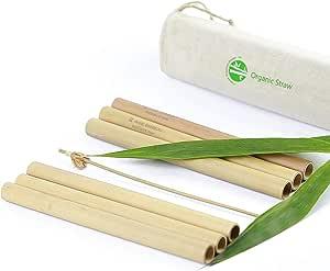 有机可重复使用的竹制饮水吸管 - 坚固耐用! Bamboo 多用途吸管 绿色,黄色 0.51Dx6.25L