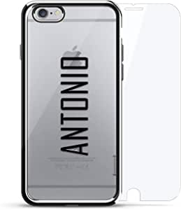 奢华镀铬系列 360 套装:设计师手机壳 + 钢化玻璃 适用于 iPhone 6/6s 银色LUX-I6CRM360-NMANTONIO2 NAME: ANTONIO, MODERN FONT STYLE 银色