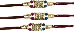 Raksha bandhan 礼物送给兄弟,颜色多样设计 Set of 3 Multi Stone RK0318