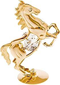 24k 镀金小雕像,带施华洛世奇水晶 - 自然 Rearing Horse