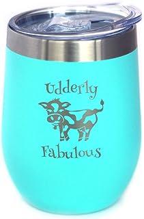 Udderly Fabulous - 奶牛葡萄酒杯带滑动盖子 - 无柄不锈钢保温杯 - 有趣的户外野营杯 - 青色
