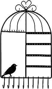 WELL-STRONG 耳环项链架 鸟笼 壁挂式 珠宝收纳架 女孩 黑色 JWYO-001-Black