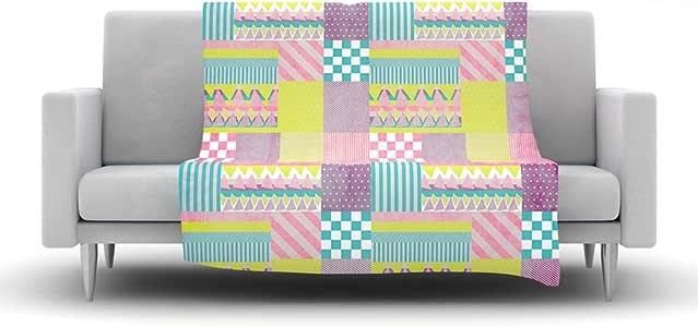 Kess InHouse Louise Machado 拼接羊毛抱毯,127 x 152.4 厘米,紫色绿色