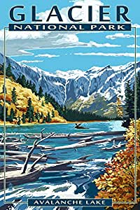 """Avalanche Lake - 冰川国家公园,蒙大拿 """"Multi"""" 9 x 12 Art Print LANT-40936-9x12"""